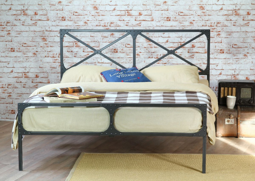 Loft łóżko Do Sypialni W Stylu Industrialnym Czasnawnętrze