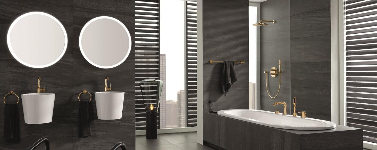łazienka W Drewnie Złocie Kamieniu Przykładowe Aranżacje