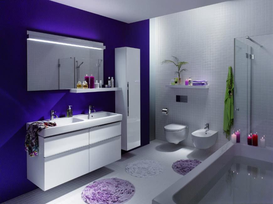 Biel I Fiolet Kolory W łazience Czasnawnętrze