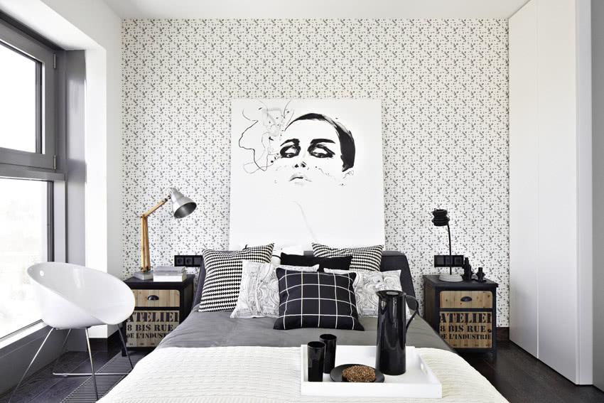Czarno Biała Sypialnia Czasnawnętrze