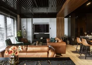 Szykowny apartament w ciemnych kolorach